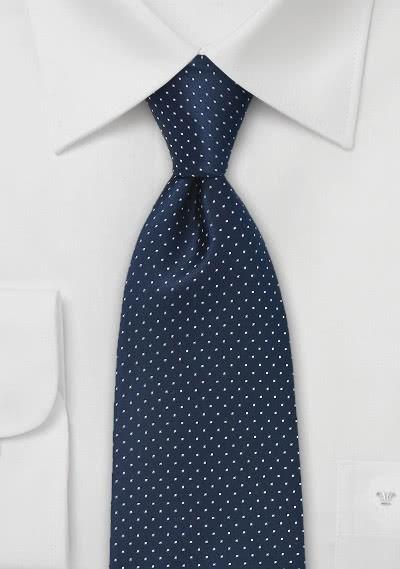 Krawatte XXL Pünktchen-Dessin nachtblau
