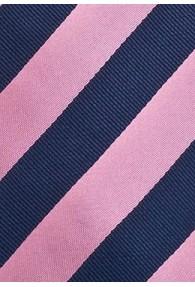 Herrenkrawatte XXL pink dunkelblau Streifendessin