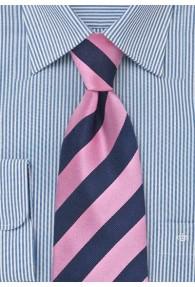Herrenkrawatte Clip pink dunkelblau Streifendessin