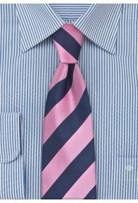 Schmale Krawatte pink dunkelblau Streifendessin