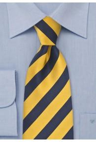 Krawatte Überlänge gelb dunkelblau Streifenmuster