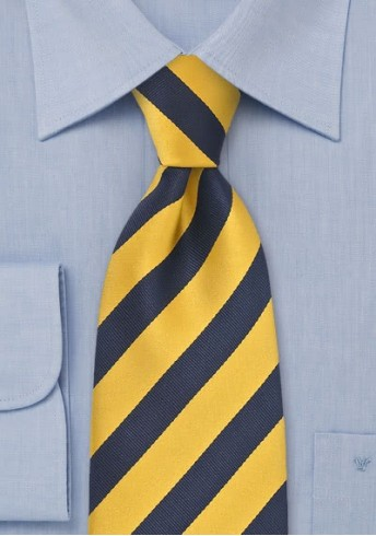 Kinder-Krawatte gelb dunkelblau Streifenmuster