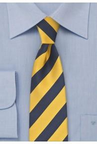 Krawatte schmal gelb dunkelblau Streifenmuster