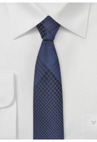 Krawatte schmal geformt Gitter-Struktur blau