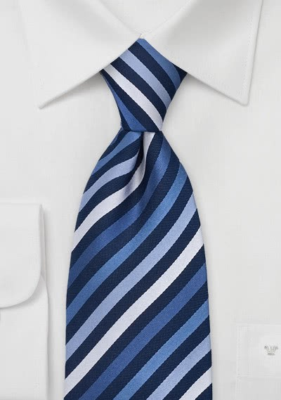 XXL-Krawatte Streifenstruktur blau silbergrau
