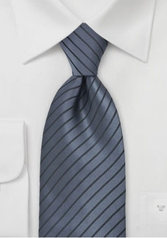 XXL-Krawatte Anthrazit Streifendessin Mikrofaser