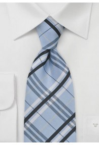 XXL-Krawatte konservativ rautiert hellblau