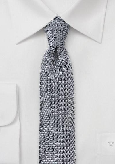 Seiden-Krawatte gestrickt silbergrau