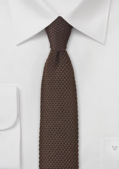 Seiden-Kravatte gewirkt mokkabraun