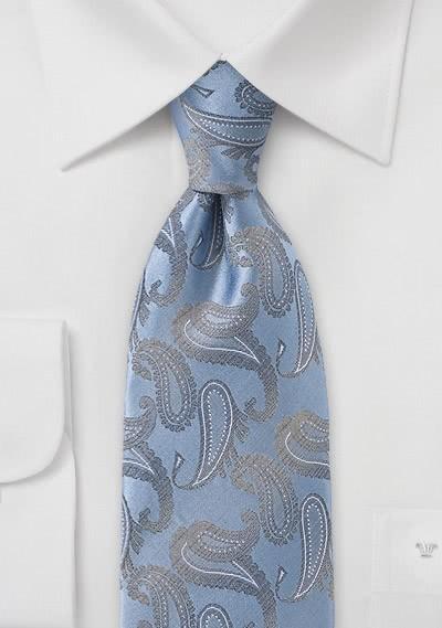 Herrenkrawatte Paisley-Muster himmelblau