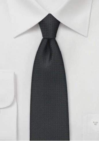 Krawatte schmal  asphaltschwarz Netz-Dessin