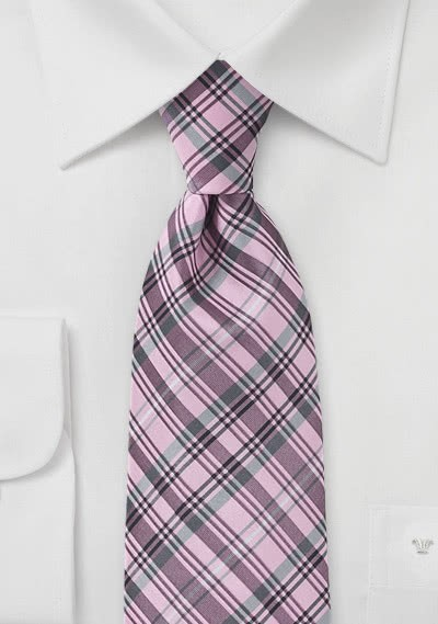 Krawatte dichtes Karomuster rosa