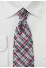 Krawatte dichtes Glencheckdesign silbergrau