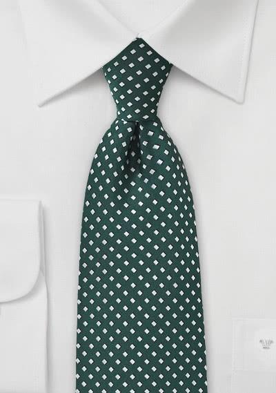 Krawatte Punkte-Vierecke dunkelgrün