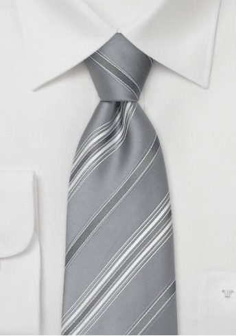 Gestreifte Krawatte silber weiß