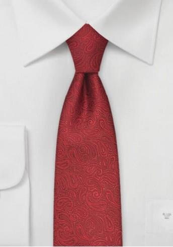 Schmale Krawatte mit rotem Paisleymuster