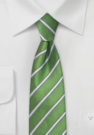 Herrenkrawatte schmal feines Streifen-Pattern grün