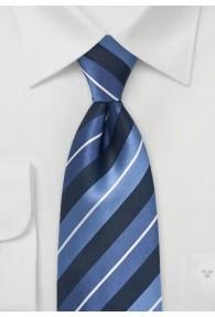 Krawatte XXL  Streifendesign navy hellblau