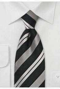 Stilsicher gestreifte Clip-Krawatte in Schwarz und Silber