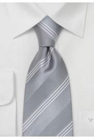 Clip-Krawatte silber Streifen