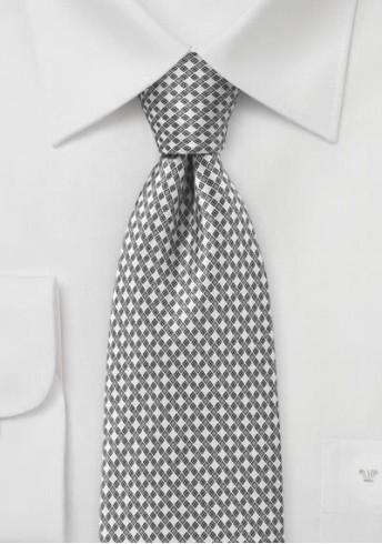 Krawatte Kästchen-Dessin silber perlweiß