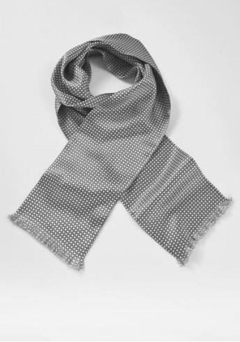 Krawattenschal schneeweiß hellgrau Kästchen-Muster