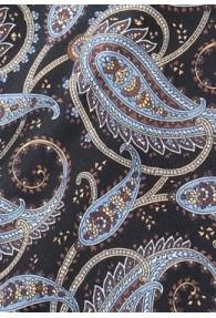 Modischer Krawattenschal buntes Paisley auf schwarz
