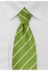 Lange Krawatte Streifen weiß apfelgrün