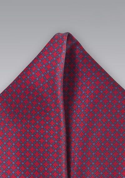 Einstecktuch rot blau Waffel-Dessin