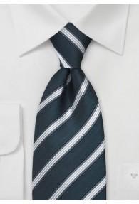 XXL-Krawatte Streifenstruktur Silbergrau Navy