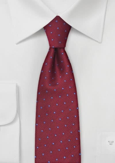 Schmale Krawatte bordeaux blaue Punkte