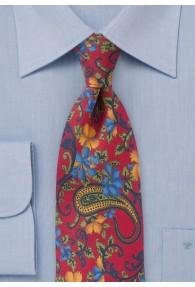 Krawatte Blümchenmotiv rot
