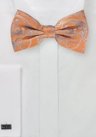 Herrenfliege Paisleymuster orange hellblau