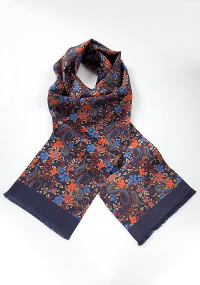 Krawattenschal dunkelblau blumig