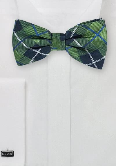 Herrenschleife Karo-Design waldgrün