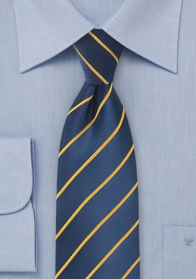 Businesskrawatte Business-Streifen gelb marineblau