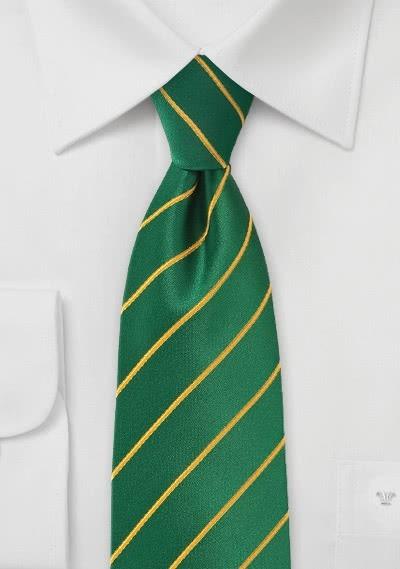 Krawatte Business-Linien flaschengrün gelb