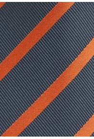 Krawatte Streifendesign anthrazit orange