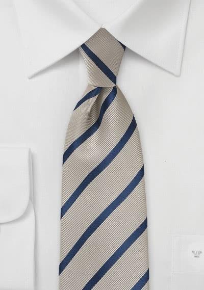 Krawatte Streifenmuster hellbraun navy