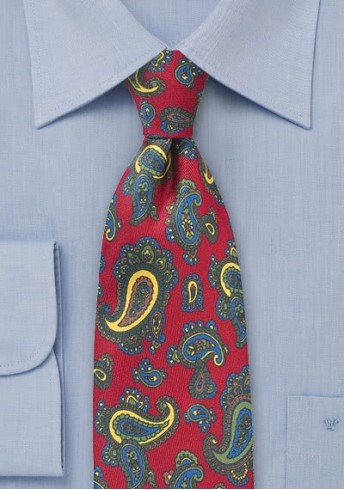 Herrenkrawatte klassisch gearbeitetes Paisley-Motiv rot