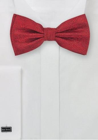 Herrenschleife Ranken-Dekor rot