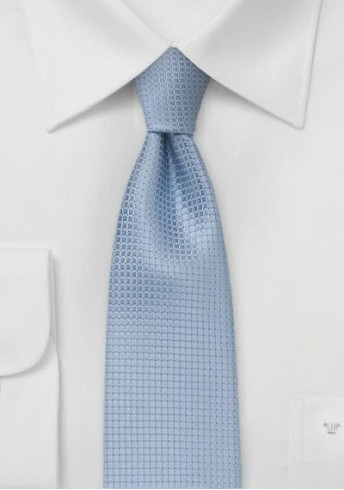Krawatte schmal hellblaue Kästchen