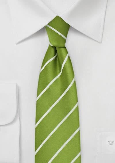 Schmale Krawatte Streifen weiß apfelgrün