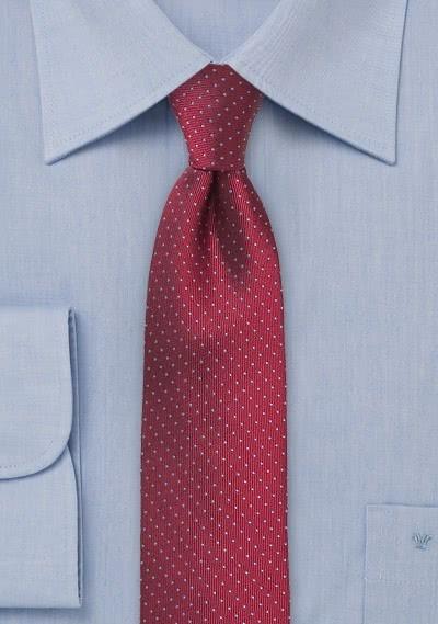 Kravatte schlank Punkt-Dessin rot stahlblau