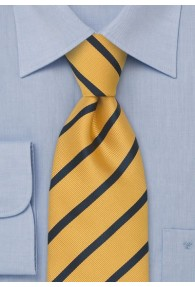 XXL-Businesskrawatte Linien-Pattern gelb dunkelblau