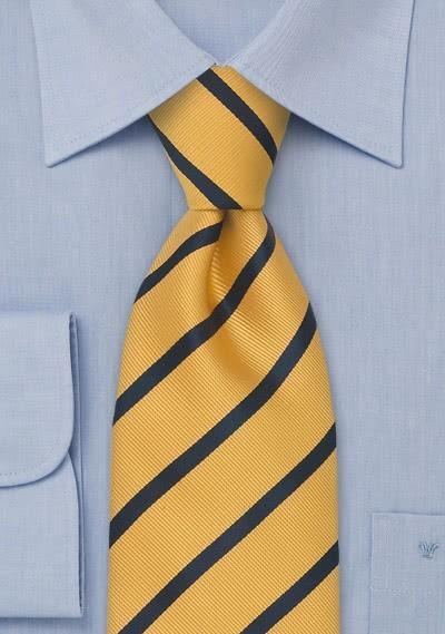 XXL-Businesskrawatte Linien-Pattern gelb