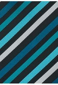XXL-Herrenkrawatte Linien-Muster schwarz aqua