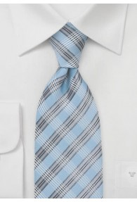 Krawatte Überlänge hellblau Glencheckmuster