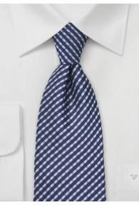 Kravatte Überlänge blau Karo-Muster