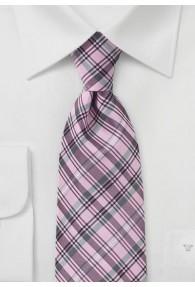 Kravatte Überlänge rosa Karo-Muster